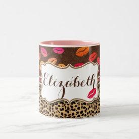 Leopard Print Lips Kisses Personalized Two-Tone Mug
