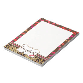 Leopard Print Lips Kisses Personalized Memo Note Pads