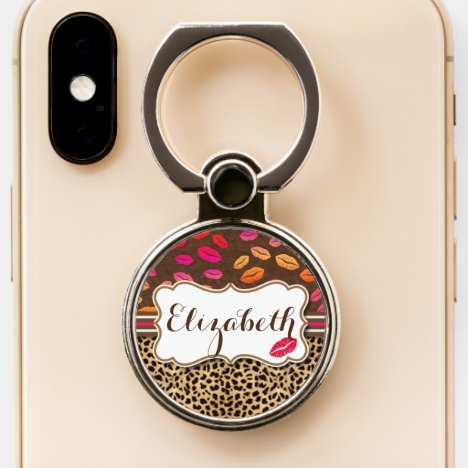 Leopard Print Lips Kisses Personalized Phone Ring Stand
