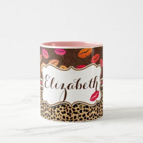 Leopard Print Lips Kisses Personalized Two-Tone Coffee Mug