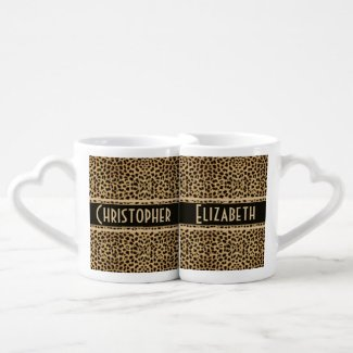 Leopard Skin Pattern Personalize Couple Mugs