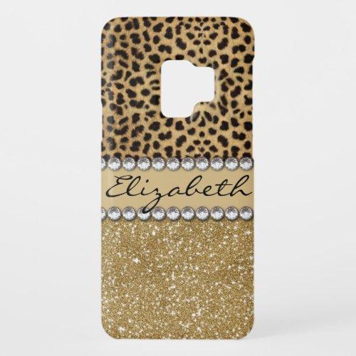 Leopard Spot Gold Glitter Rhinestone PHOTO PRINT Case-Mate Samsung Galaxy S9 Case