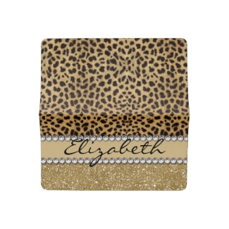 Leopard Spot Gold Glitter Rhinestone PHOTO PRINT Checkbook Cover