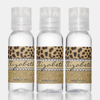 Leopard Spot Gold Glitter Rhinestone PHOTO PRINT Hand Sanitizer