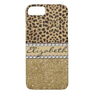 Leopard Spot Gold Glitter Rhinestone PHOTO PRINT iPhone 8/7 Case