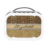 Leopard Spot Gold Glitter Rhinestone PHOTO PRINT Yubo Lunchboxes