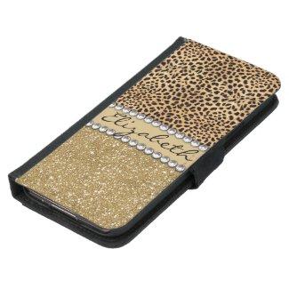 Leopard Spot Gold Glitter Rhinestone PHOTO PRINT Samsung Galaxy S5 Wallet Case