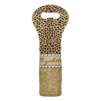 Leopard Spot Gold Glitter Rhinestone PHOTO PRINT Wine Bag
