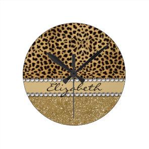Leopard Spot Gold Glitter Rhinestone Print Pattern Round Wall Clock