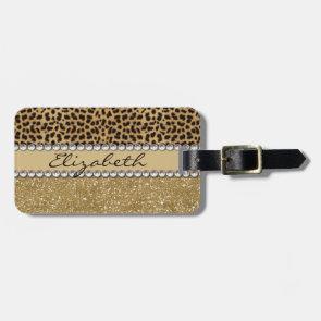 Leopard Spot Gold Glitter Rhinestone Print Pattern Tags For Luggage