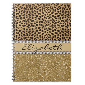 Leopard Spot Gold Glitter Rhinestone Print Pattern Spiral Note Book