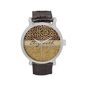 Leopard Spot Gold Glitter Rhinestone Print Pattern Watch