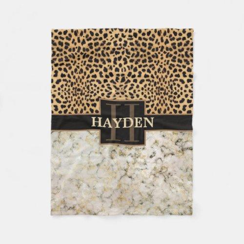 Leopard Spot Marble Monogram Name Fleece Blanket