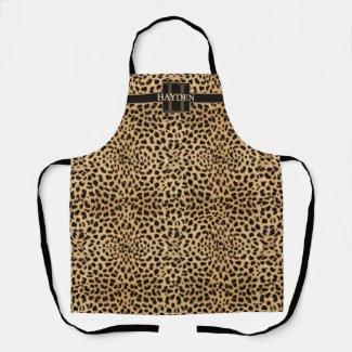 Leopard Spot Monogram Name Apron