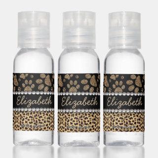 Leopard Spot Paw Prints Rhinestone PHOTO PRINT Hand Sanitizer