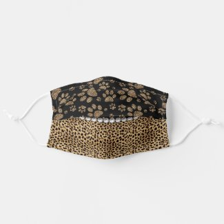 Leopard Spot Paw Prints Rhinestone PRINT Cloth Face Mask