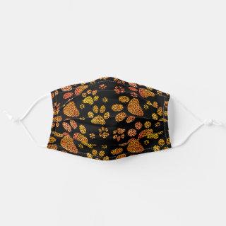 Leopard Spot Paw Prints Yellow Orange Adult Cloth Face Mask