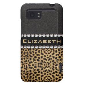 Leopard Spot Rhinestone Diamonds Monogram Custom HTC Vivid / Raider 4G Cover
