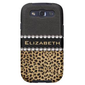 Leopard Spot Rhinestone Diamonds Monogram Custom Samsung Galaxy SIII Cover