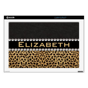 Leopard Spot Rhinestone Diamonds Monogram Custom Laptop Decal