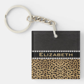 Leopard Spot Rhinestone Diamonds Monogram Square Acrylic Keychain