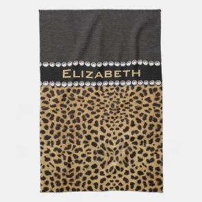 Leopard Spot Rhinestone Diamonds Monogram Kitchen Towel