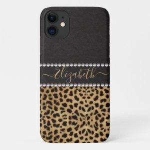 Leopard Spot Rhinestone Diamonds Monogram PHOTO iPhone 11 Case