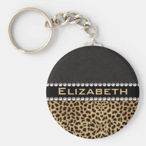 Leopard Spot Rhinestone Diamonds Monogram PHOTO Keychain