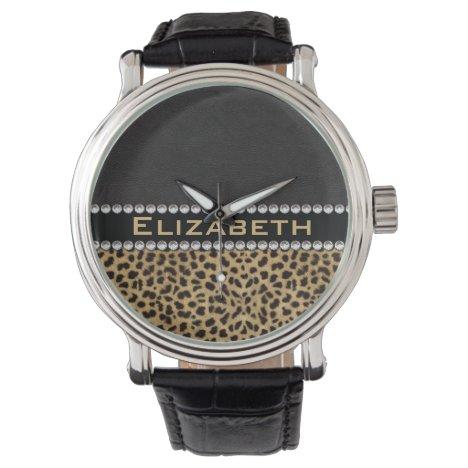 Leopard Spot Rhinestone Diamonds Monogram PHOTO Wristwatch