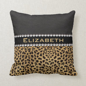 Leopard Spot Rhinestone Diamonds Monogram Pillows