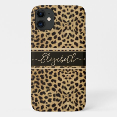 Leopard Spot Skin Print Personalized iPhone 11 Case