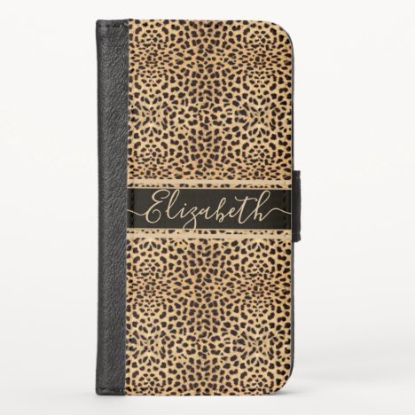 Leopard Spot Skin Print Personalized iPhone X Wallet Case