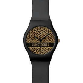 Leopard Spot Skin Print Personalized Watches