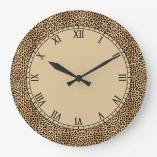 Leopard Spots Skin Roman Numbers Large Clock