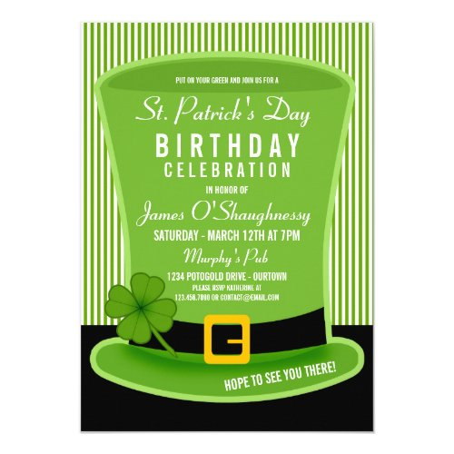 Leprechaun Hat Birthday Party Invitations