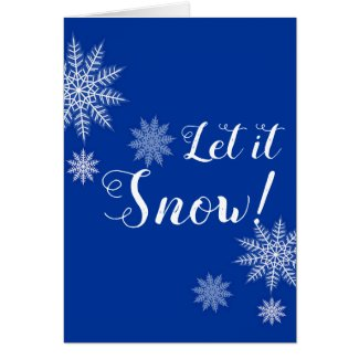 Let it Snow! Blue & White Snowflake Greeting Cards