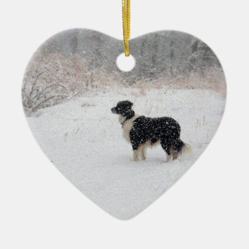 Let it Snow! Border Collie Ceramic Ornament