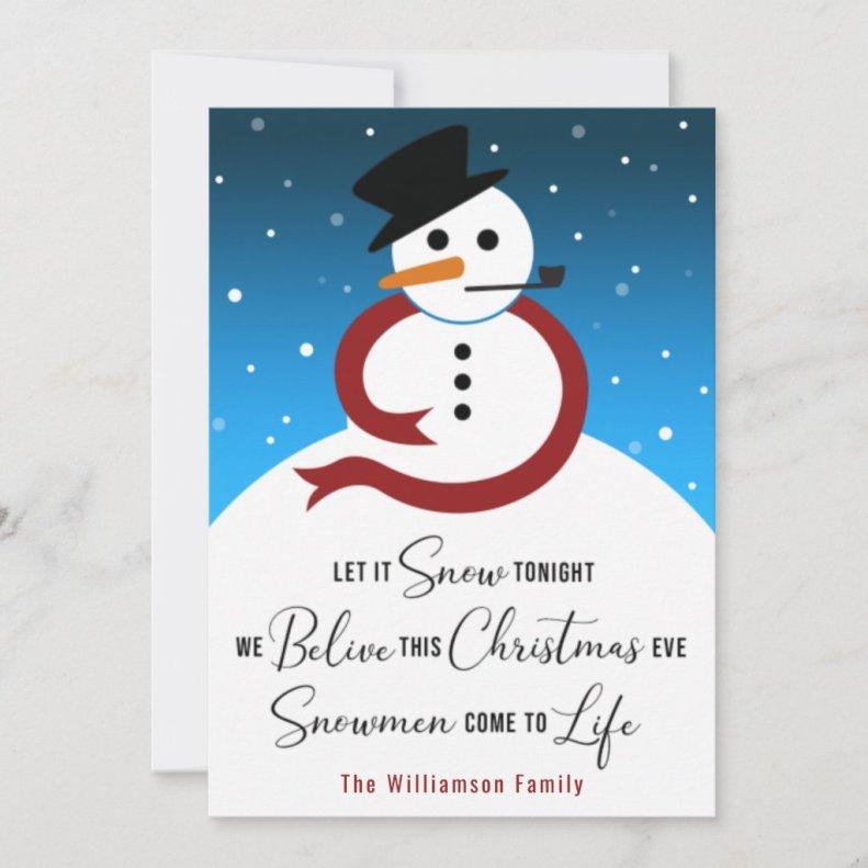 Let it Snow Christmas Eve Snowman Haiku Poetry Card