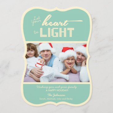 Let your heart be light - green and cream holiday card