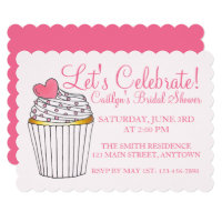 Let's Celebrate Pink Cupcake Bridal Baby Shower Card