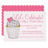 Let's Celebrate Pink Cupcake Bridal Baby Shower Card