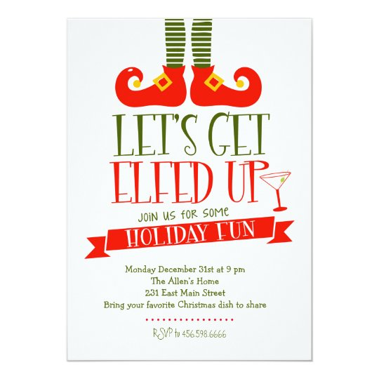 Let 39 S Get Elfed Up Christmas Party Invitation