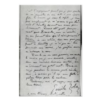 Letter from Zola to Edouard Manet 1868 Posters