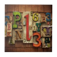 letters and numbers ceramic tile | Zazzle