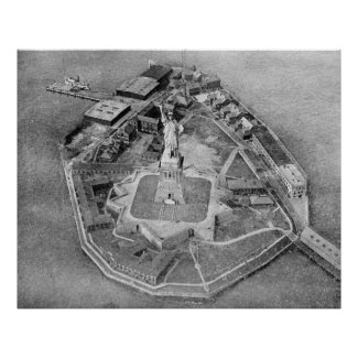 Liberty Island Black and White Photograph (1921) Print