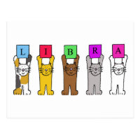 Libra Birthday Cats Postcard