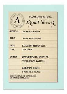 Library Card Book Bridal Shower Party Invite