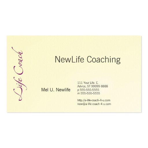 Life Coach Text Swash Double-Sided Standard Business Cards ...