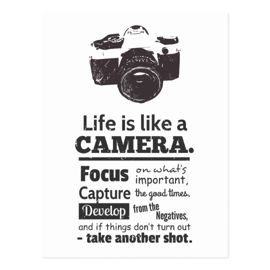 Life is like a camera quote, Black Grunge Postcard