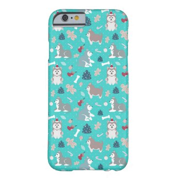 Light Blue Christmas Husky Dog iPhone 6 Case